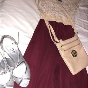 Maroon and tan lace dress.